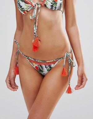 Playful Promises Плавки бикини с ананасами и завязками кисточками. Цвет: мульти
