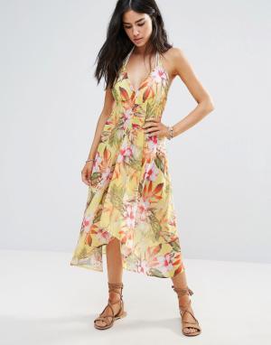 Butterfly by Matthew Williamson Пляжное платье с цветочным принтом. Цвет: мульти