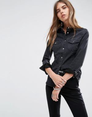 ASOS Черная приталенная джинсовая рубашка в стиле вестерн DESIGN. Цвет: черный