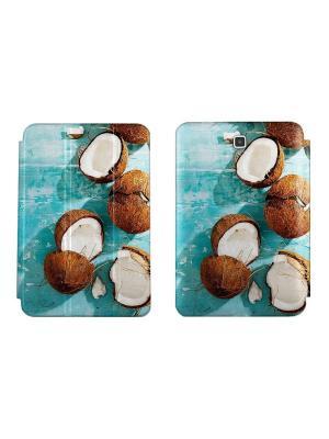 Дизайнерский чехол-книжка для Samsung Galaxy Tab A 9.7. Кокосы With Love. Moscow. Цвет: лазурный, белый, молочный