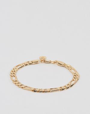 Chained & Able Золотистый браслет из цепочки плетения фигаро. Цвет: золотой