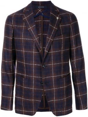 Клетчатый приталенный пиджак Tagliatore. Цвет: многоцветный