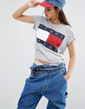 Tommy Jeans Укороченная футболка с логотипом. Цвет: серый