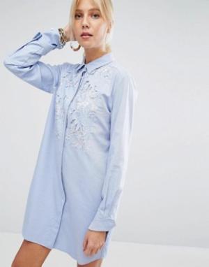 SPORTMAX CODE Платье-рубашка с кружевной вставкой. Цвет: синий