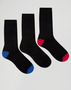 Ciao 3 пары хлопковых носков с контрастной пяткой и носком Italy. Цвет: черный