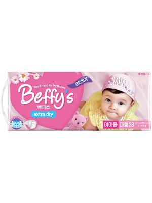 Подгузники Beffys extra dry для девочек размер L (9-14 кг.) 38 шт. Beffy's. Цвет: красный