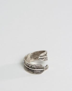 ASOS Кольцо с дизайном в виде пера. Цвет: серебряный