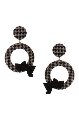 Серьги-кольца с текстильной отделкой Lisa Smith. Цвет: черный/белый