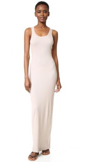 Рубчатое макси-платье Splendid. Цвет: миндаль