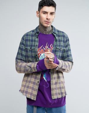 Reason Фланелевая рубашка с эффектом деграде и необработанной кромкой. Цвет: синий
