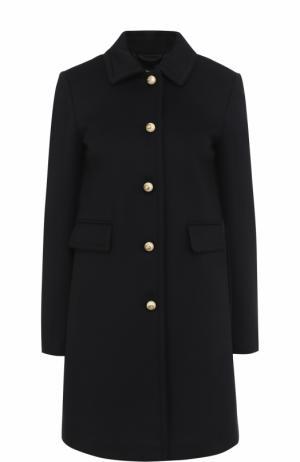 Шерстяное пальто с отложным воротником и жемчужными пуговицами Gucci. Цвет: темно-синий