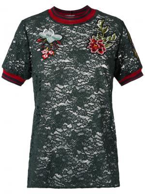 Lace T-shirt Martha Medeiros. Цвет: зелёный