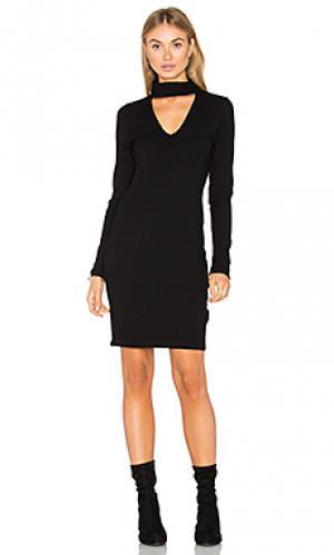 Платье в рубчик с длинным рукавом Eight Sixty. Цвет: черный