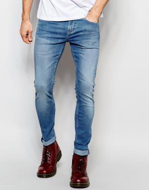 D.I.E Голубые супероблегающие джинсы . Smoke. Цвет: синий