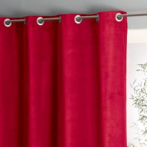 Штора велюровая с люверсами, 100% хлопок, Wouri La Redoute Interieurs. Цвет: красный,серо-коричневый каштан