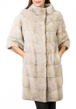 Меховое пальто норка BELLINI. Цвет: бежевый