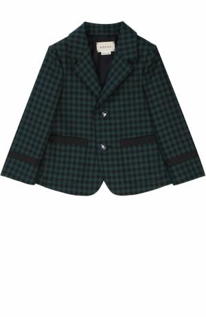 Шерстяной пиджак клетку с декоративными пуговицами Gucci. Цвет: зеленый