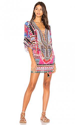 Платье в восточном стиле со шнуровкой Camilla. Цвет: синий