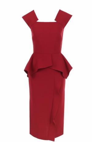 Приталенное платье с оборками и высоким разрезом Roland Mouret. Цвет: бордовый