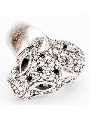 Кольцо Леопард бижутерный сплав, страз Колечки. Цвет: серый