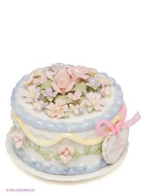 Шкатулка Праздничный торт Pavone. Цвет: голубой, розовый