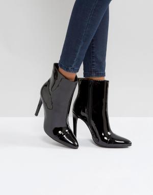 London Rebel Полусапожки на каблуке-шпильке с заостренным носком и серебристой молн. Цвет: черный