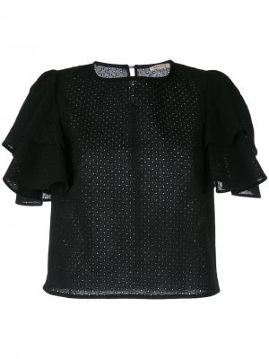 Ruffle sleeve blouse Daniele Carlotta. Цвет: чёрный