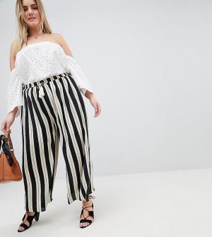Glamorous Curve Свободные брюки в полоску с кисточками. Цвет: черный