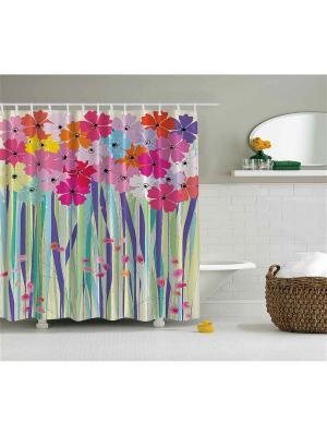 Фотоштора для ванной Цветы с лиловыми листьями, 180*200 см Magic Lady. Цвет: розовый, желтый, зеленый, оранжевый, фиолетовый