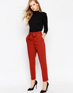 ASOS Тканые широкие брюки с поясом-оби. Цвет: черный