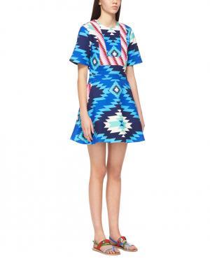 Платье с принтом House of Holland. Цвет: синий, розовый
