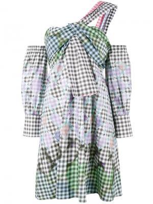 Платье на одно плечо в клетку гингем Peter Pilotto. Цвет: чёрный