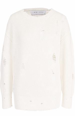 Хлопковый пуловер фактурной вязки Iro. Цвет: белый