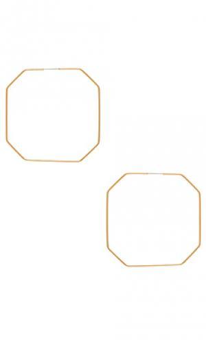 Серьги-кольца octagon Ettika. Цвет: металлический золотой