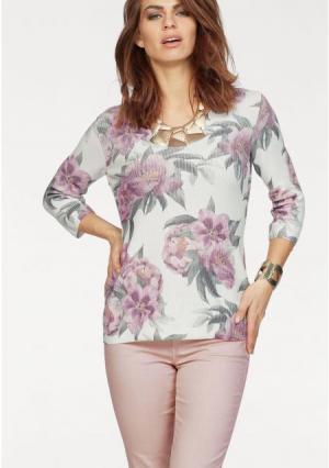 Пуловер Laura Scott. Цвет: цвет белой шерсти+с рисунком