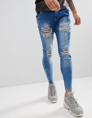 SikSilk Синие облегающие джинсы с рваной отделкой. Цвет: синий