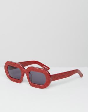House of Holland Солнцезащитные очки в красной мраморной оправе Eggy. Цвет: красный