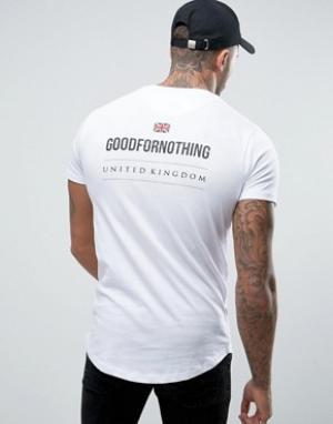 Good For Nothing Белая обтягивающая футболка с принтом на спине. Цвет: белый