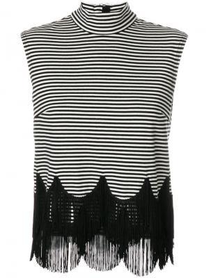 Полосатый топ с бахромой Marc Jacobs. Цвет: чёрный