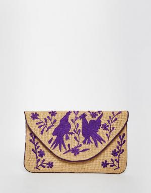 Moyna Джутовый клатч с фиолетовой вышивкой. Цвет: мульти