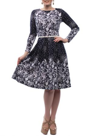 Платье с поясом и черно-белым принтом Петербургский Швейный Дом. Цвет: темно-синий, белый