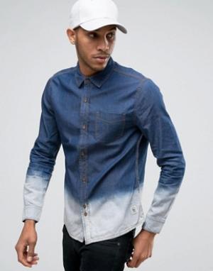 Bellfield Джинсовая рубашка с эффектом деграде. Цвет: темно-синий