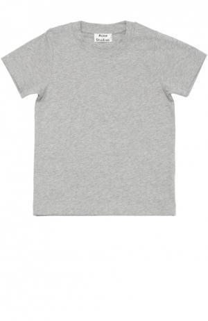 Хлопковая футболка с круглым вырезом Acne Studios. Цвет: серый