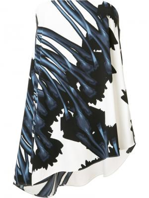 Блузка с цветочным узором Halston Heritage. Цвет: белый