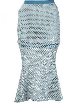 Расклешенная сетчатая юбка Musée. Цвет: зелёный