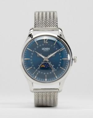 Henry London Часы с окошками даты и лунных фаз Knightsbridge. Цвет: серебряный