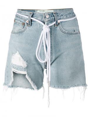 Рваные джинсовые шорты Off-White. Цвет: синий