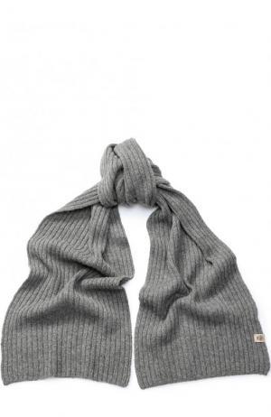 Шарф фактурной вязки из смеси шерсти и кашемира Roeckl. Цвет: темно-серый