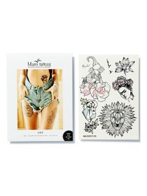Переводные тату Miami Tattoos Art by Nora Ink  1 лист 29,7см*21см. Цвет: морская волна, розовый, светло-серый, черный