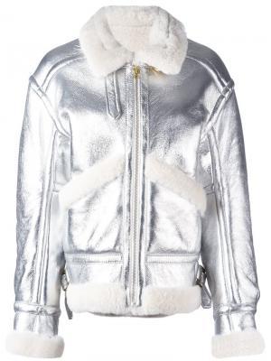 Куртка-бомбер с отделкой металлик Petar Petrov. Цвет: металлический
